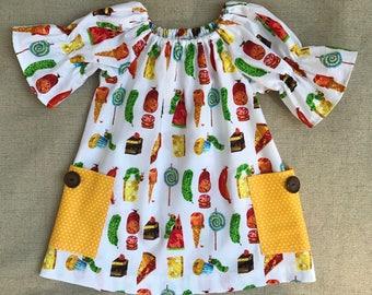 The Very Hungry Caterpillar Dress, Caterpillar Peasant Dress, Birthday Dress
