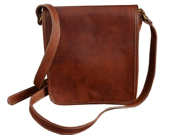 Father's Day gift, Small leather messenger bag, Leather messenger bag, Handbag, shoulder bag men - On The Road