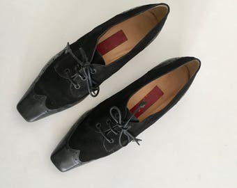 Sz 36 Italian Lace up Leather and Suede Oxford Wingtip Shoes