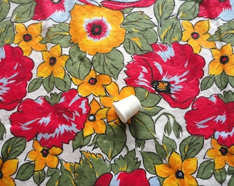red and yellow floral print cotton vintage fabric -- 42 1/2 wide by 1 1/4 yd
