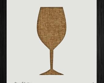 Wine Glass Style 1388, DIY Plastic Stencil Acrylic Mylar Reusable