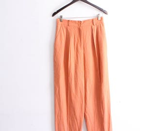 Coral Silk High Waisted 80s Pants