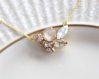 Crystal Bridal necklace, Bridal jewelry, White Opal necklace, Swarovski crystal necklace, Pendant necklace Opal necklace Bridesmaid necklace