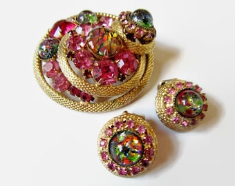 DeLizza and Elster Brooch and Earrings; Demi Parure, 1960's