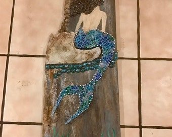 Mermaid string art on natural aged wood filled with Seaglass.
