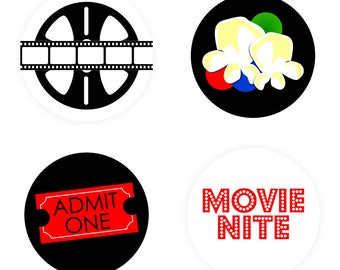 """PRINTABLE Movie Nite 2"""" Rounds - #DIY #Printable Instant #Download (for print at home: stickers, gift tags or cupcake toppers)"""