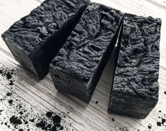 Charcoal Soap Vegan Gift for Women Homemade Soap All Natural Soap Unscented Shea Butter Soap Skincare Acne Hot Process Facial Soap