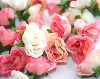 32 Mini Roses in Shades of Pink and Cream  -- MINIATURE Sweetheart Artificial Roses - ITEM 0448