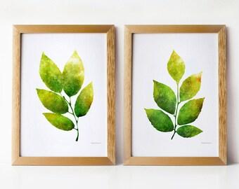Green leaves wall art set, 5x7 art prints, Nature decor Wall prints, Home decor art prints, PRINTABLE art set of 2 prints, Living room decor