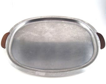 Vintage large oval stainless steel and teak serving tray - large tray - vintage stainless steel - Danish stainless steel - mid century tray