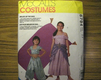 Vintage McCalls 6794 Halloween Costume Sewing Pattern - Childs Size 2, 4 - Princess, Genie, Bride, Fairy, Movie Star, and Beauty