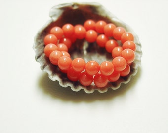 Genuine Coral Bracelet in a Peachy Guava color of mixed Pink and Orange and White / Stretchy Bracelet / Summer Bracelet / Stack and Mix