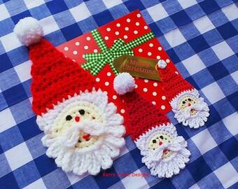 CHRISTMAS APPLIQUE PATTERN Santa Crochet Pattern Crochet  Bunting Pattern Crochet santa motive pattern Christmas Crochet Pattern Santa Claus