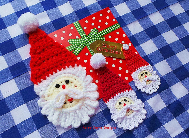 CHRISTMAS APPLIQUE PATTERN Santa Crochet Pattern Crochet Bunting ...