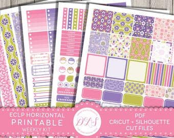 Printable Horizontal Planner Stickers, Erin Condren Horizontal, Weekly Planner Stickers, ECLP Stickers, Floral Planner, Cut File, HS130