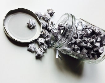 Origami | Lucky Star | Monochrome | Jar | Gift | Wedding | Home