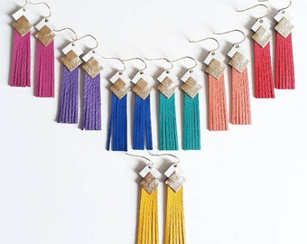 """Leather """"mini fringe"""" earrings clip gold plated jewelry woman made manually customizable"""