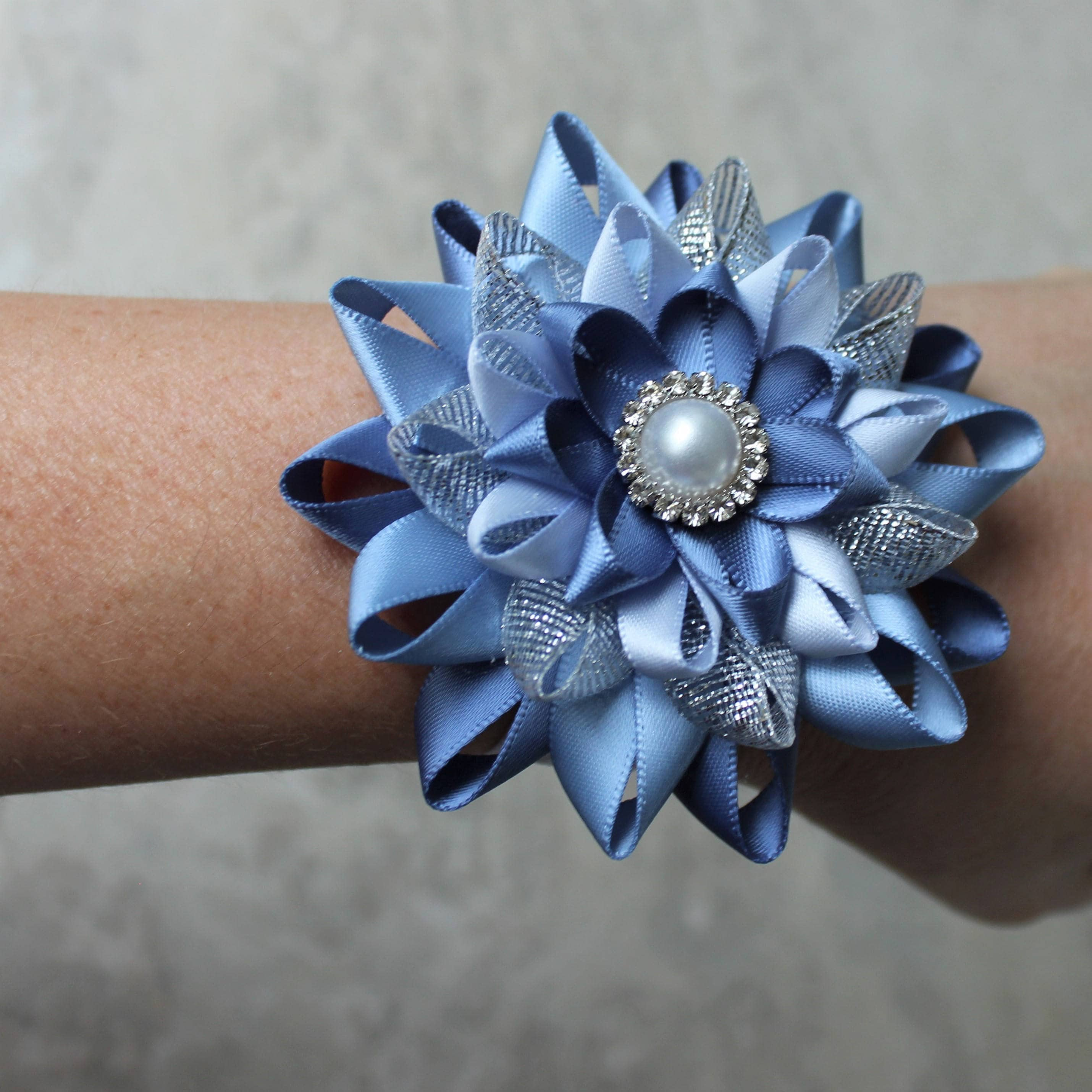 Wrist corsage and boutonniere bridal party flower bout homecoming wrist corsage and boutonniere bridal party flower bout homecoming prom flowers wrist flowers denim blue french blue silver ice blue izmirmasajfo Gallery