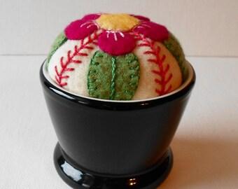 Handmade Felted Wool Fuschia Blossom Pincushion