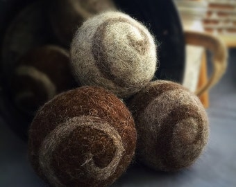 Ovella Wool Dryer Balls, The Lixo Swirl Collection. Set of Nine (9) natural color, grey, brown, swirls, pretty