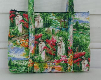 Trees Flowers Garden Green Print Quilted Purse Quilted Handbag