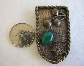 Antique, Art Deco, Brass Dress or Fur Clip with Chrysoprase Cabochon - More Photos Always Available, Please see Description