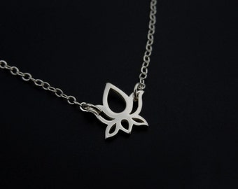 Tiny Lotus Necklace in Sterling Silver