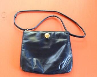 vintage blue leather flex frame purse . leather shoulder bag