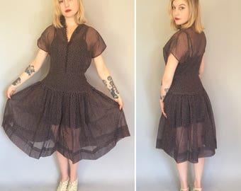 S/M Mode O Day organza pink swiss dot day dress