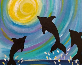 Dolphin Painting, 9x12 Inch Painting, Colorful Dolphin Art, Ocean Painting, Dolphin Wall Decor, Dolphin Gift Idea, Jumping Dolphins, Summer