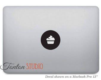Cupcake Macbook Decal / Cupcake Sticker / Cupcake Icon Decal / Cupcake Decal / Cake Laptop Notebook Round Circle Sticker Vinyl - T030