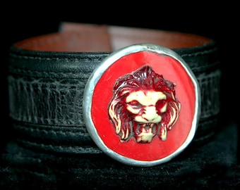 Cuff Red Lion Head bracelet
