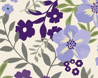 Lavender Floral Tropic Organic Fabric - By The Yard - Girl / Modern / Fabric