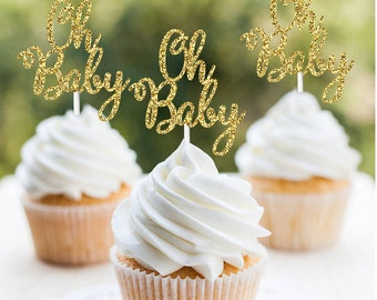 Oh Baby Cupcake Topper, Baby Shower Cupcake Toppers,  Gender Reveal Cupcake Topper, Gender Neutral Baby Shower Cupcake Toppers