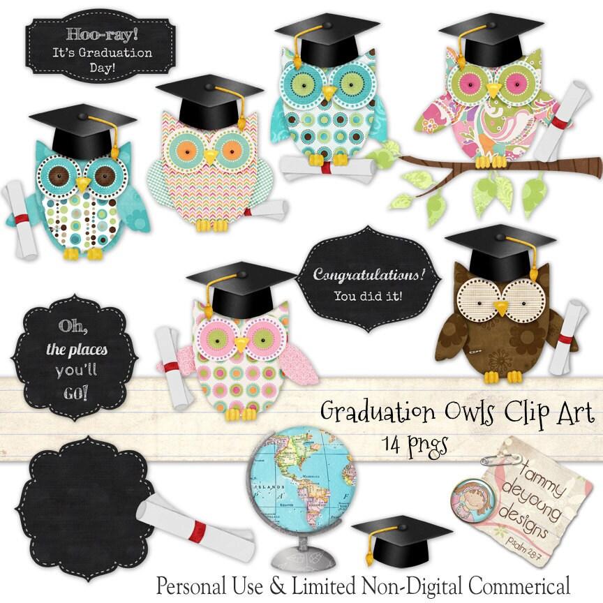 Graduation Clip Art, Graduation Owls clipart, Preschool Kindergarten ...