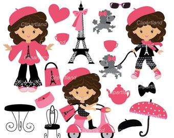 INSTANT DOWNLOAD. CP_14_Paris. French girl clipart. Personal and commercial use.