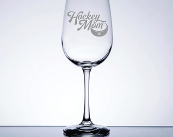 Hockey Mom - Etched 16 oz Stemmed Wine Glass