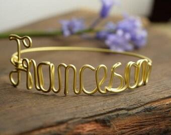 Name Bracelet, Custom Bracelet, Handmade Customized Bangle, Name Bangle, BRACCIALE CON NOME, Personalized Jewelry