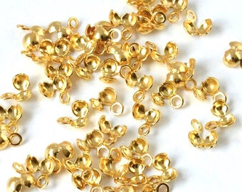 Lot 10 hidden nodes ball of brass (5.6x5.4mm) - for yarn (eye 1.1 mm) - Gold - ACNM16OR312 finish