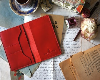 Red Field notes leather cover hand-stitched