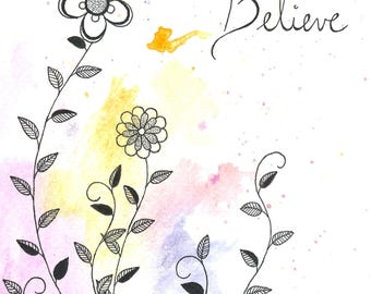 Watercolor Floral Card-Believe