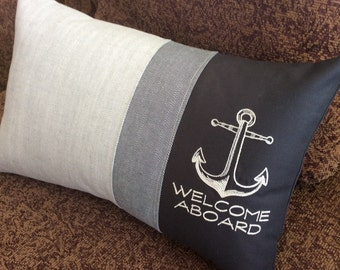 WELCOME ABOARD Nautical Embroidered Boat Pillow Cover, Unique Style, One of a Kind, Yacht Gift, Anchor, Navy, Ocean, Nautical