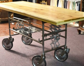 1940's Gurney Re-Styled Into an Industrial Kitchen Island, Foyer Table or Bar