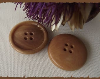 2 buttons Brown 32 or 27 mm / 3.2 or 2.7 cm foot brown button for coat jacket cape