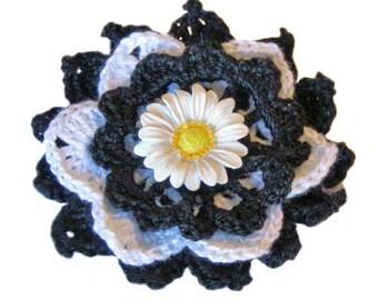 Night -n- Daisy Flower Brooch, Boutonniere, Lapel Pin, Corsage, Crochet Thread Pin, Hat Pin, Bag Charm, Bag Pin, Fiber Brooch, FB157-01