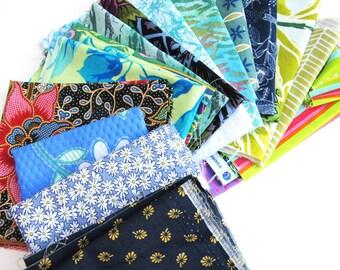 Blue and Green Fabric Scraps - Quilt Scrap Bundle - Fabric Remnants #23