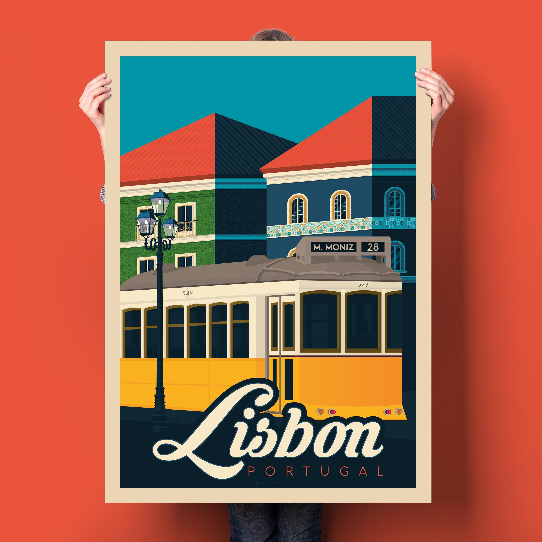 Lisbon Portugal Poster - Vintage Travel Poster, Lisbon art print ...