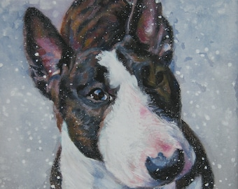 BULL TERRIER dog portrait art canvas PRINT of LAShepard painting 8x8""