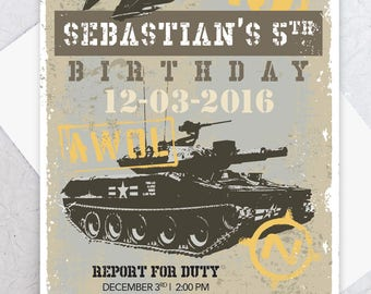 Custom Listing for Kylee - Army Birthday Party Invitation