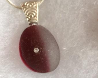 English Sea glass Red/White Multi-with swarovski crystal- sterling silverEM104